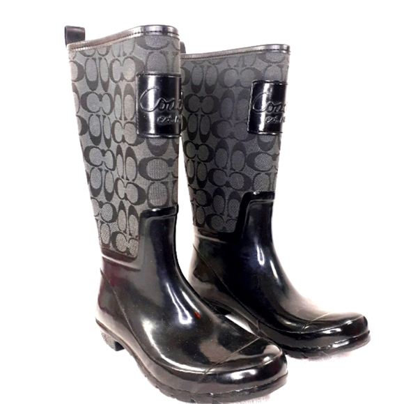 Coach Black Rain Boots PEARL Galoshes Shoe Size 8